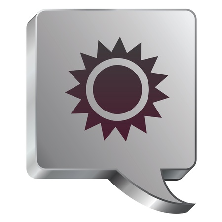 sol: Sun or light icon on stainless steel modern industrial voice bubble icon suitable for use as a website accent, on promotional materials, or in advertisements