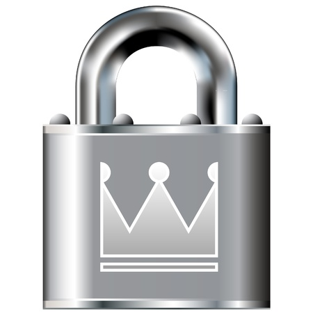 Crown icon on secure vector lock button  Suitable for use on websites, in print, and on brochures