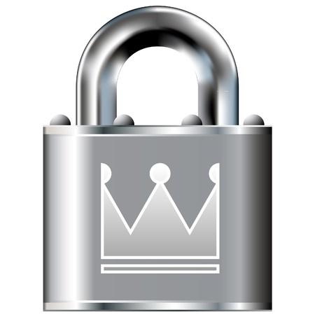 Kroon pictogram op beveiligde vector lock knop Geschikt voor gebruik op websites, in print en op brochures
