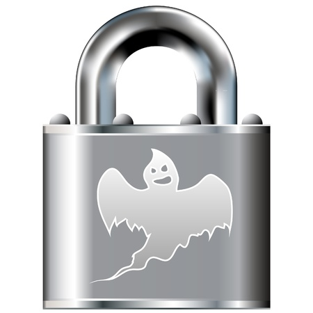 Scary ghost icon on secure vector lock button  Suitable for use on websites, in print, and on brochures Stock Vector - 14707888