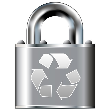 Recycle symbol icon on secure vector lock button   Illustration