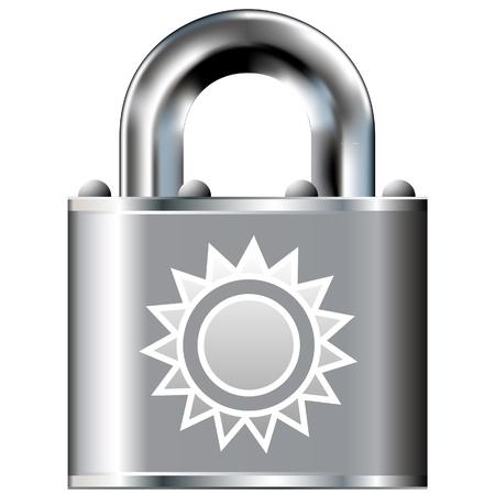Sun icon on secure vector lock button