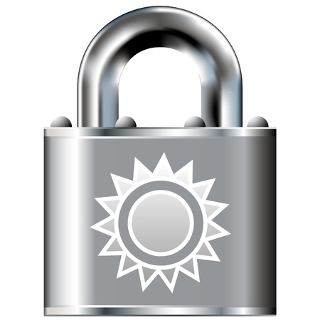 Sun icon on secure vector lock button  Stock Vector - 14707890