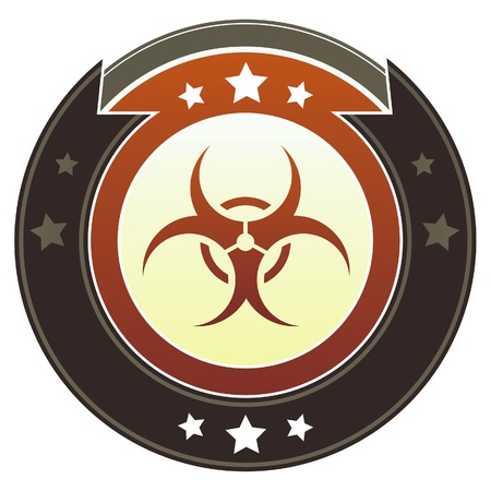 armageddon: Biohazard warning icon on round red and brown imperial vector button with star accents suitable for use on website, in print and promotional materials, and for advertising  Illustration