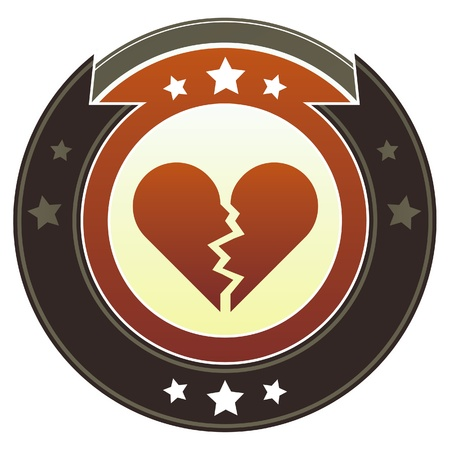 Broken heart icon on round red and brown imperial vector button with star accents suitable for use on website, in print and promotional materials, and for advertising