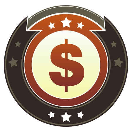 Dollar sign currency icon on round red and brown imperial vector button with star accents suitable for use on website, in print and promotional materials, and for advertising  Stock Vector - 14707401