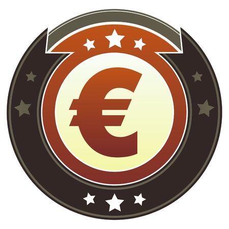 transact: Euro currency icon on round red and brown imperial vector button with star accents suitable for use on website, in print and promotional materials, and for advertising