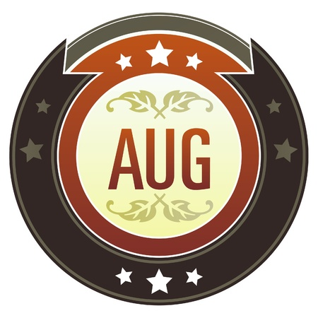 August month calendar icon on round red and brown imperial vector button with star accents suitable for use on website, in print and promotional materials, and for advertising   Stock Vector - 14707361