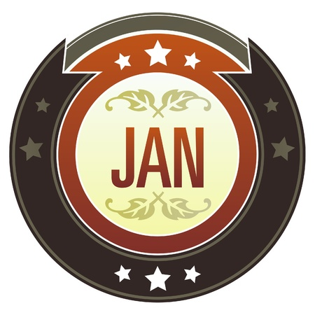 January month calendar icon on round red and brown imperial vector button with star accents suitable for use on website, in print and promotional materials, and for advertising