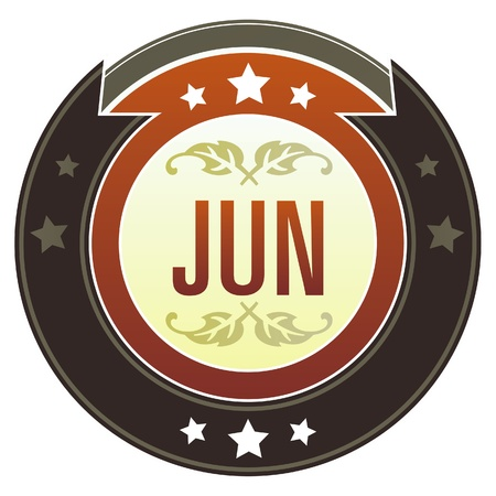 June month calendar icon on round red and brown imperial vector button with star accents suitable for use on website, in print and promotional materials, and for advertising