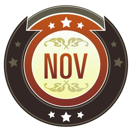 November month calendar icon on round red and brown imperial vector button with star accents suitable for use on website, in print and promotional materials, and for advertising