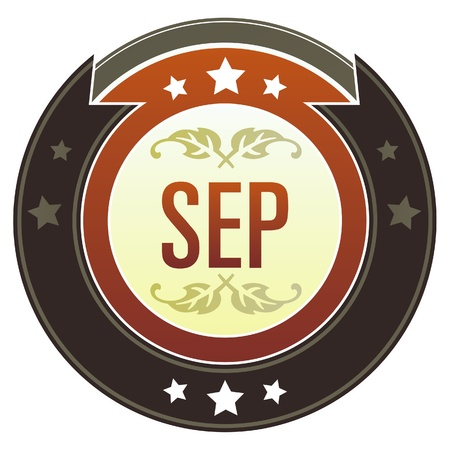 September month calendar icon on round red and brown imperial vector button with star accents suitable for use on website, in print and promotional materials, and for advertising Stock Vector - 14707316