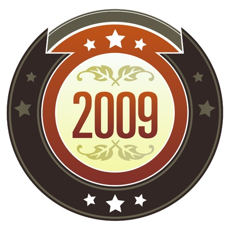symbol: 2009 year calendar icon on round red and brown imperial vector button with star accents suitable for use on website, in print and promotional materials, and for advertising