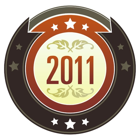2011 year calendar icon on round red and brown imperial vector button with star accents suitable for use on website, in print and promotional materials, and for advertising