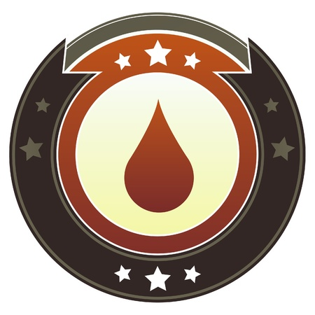 Oil or water drop icon on round red and brown imperial vector button with star accents suitable for use on website, in print and promotional materials, and for advertising