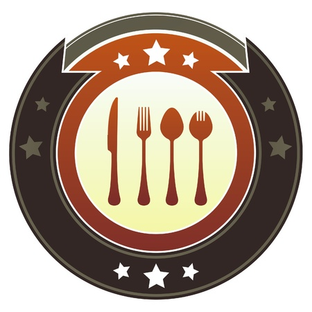 Eating utensils or dining icon on round red and brown imperial vector button with star accents suitable for use on website, in print and promotional materials, and for advertising