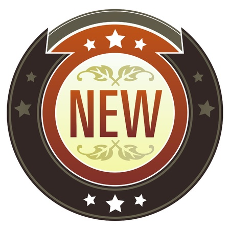 New e-commerce icon on round red and brown imperial vector button with star accents suitable for use on website, in print and promotional materials, and for advertising  Vector