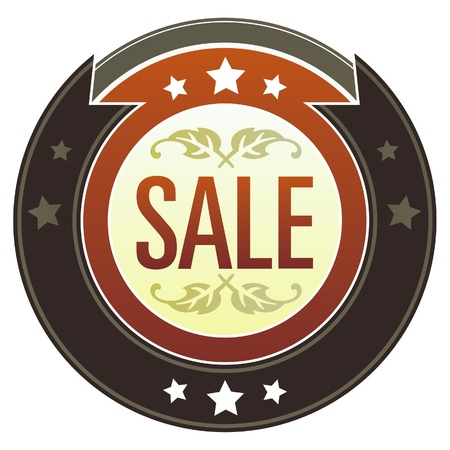 deduct: Sale e-commerce icon on round red and brown imperial vector button with star accents suitable for use on website, in print and promotional materials, and for advertising