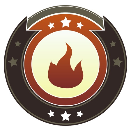 flammable: Fire, flammable or camping icon on round red and brown imperial vector button with star accents suitable for use on website, in print and promotional materials, and for advertising  Illustration