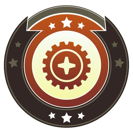 spinner: Gear or settings icon on round red and brown imperial vector button with star accents suitable for use on website, in print and promotional materials, and for advertising  Illustration