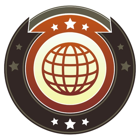 Globe or international icon on round red and brown imperial vector button with star accents suitable for use on website, in print and promotional materials, and for advertising