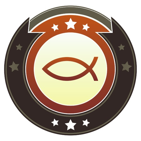 ichthys: Christian Jesus fish icon on round red and brown imperial vector button with star accents suitable for use on website, in print and promotional materials, and for advertising  Illustration