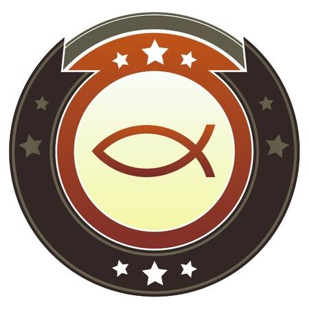 pez cristiano: Cristiano icono de pescado de Jesús en rojo redondo y botón del vector imperial marrón con acentos estrella adecuados para su uso en el sitio web, en materiales impresos y promocionales, y para la publicidad Vectores
