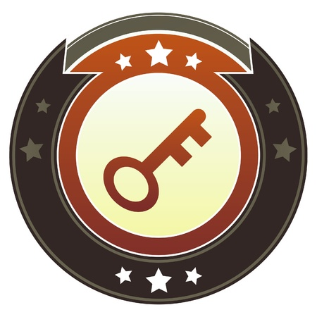 skeleton key: Skeleton key or password icon on round red and brown imperial vector button with star accents suitable for use on website, in print and promotional materials, and for advertising  Illustration