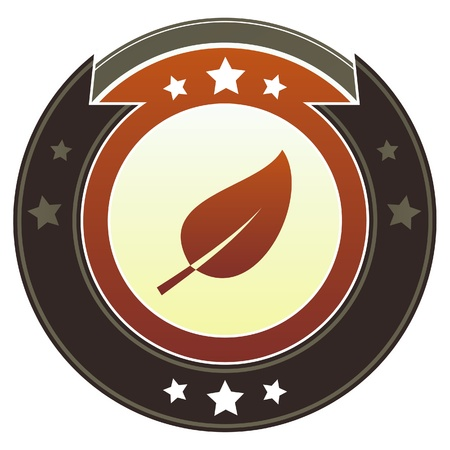hiking trail: Leaf or nature icon icon on round red and brown imperial vector button with star accents suitable for use on website, in print and promotional materials, and for advertising   Illustration