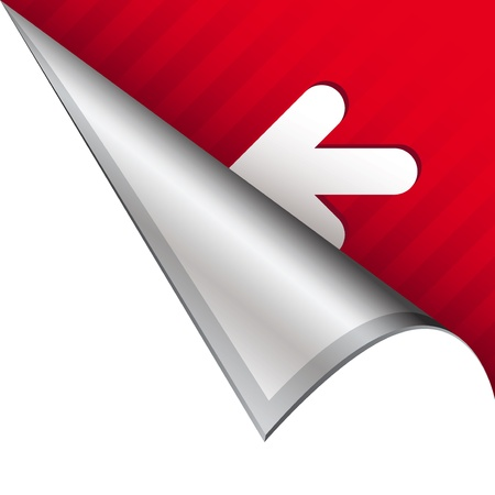 Left arrow icon on vector peeled corner tab suitable for use in print, on websites, or in advertising materials  photo