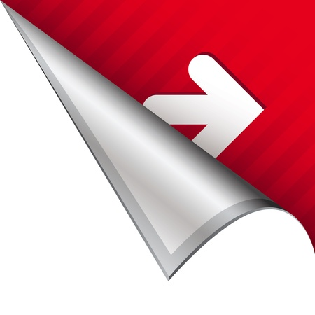 button: Right arrow icon on vector peeled corner tab suitable for use in print, on websites, or in advertising materials