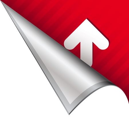 Up arrow icon on vector peeled corner tab suitable for use in print, on websites, or in advertising materials