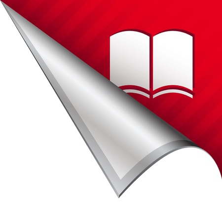 book: Open book icon on vector peeled corner tab suitable for use in print, on websites, or in advertising materials