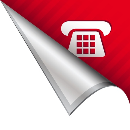 reveal: Telephone or contact icon on vector peeled corner tab suitable for use in print, on websites, or in advertising materials   Stock Photo