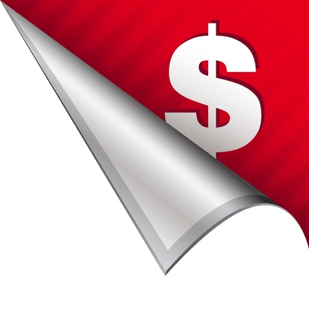 Dollar sign icon on vector peeled corner tab suitable for use in print, on websites, or in advertising materials Stock Photo - 14707217