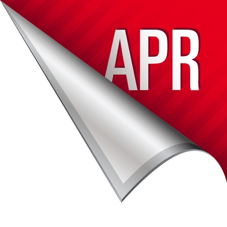 April calendar month icon on vector peeled corner tab suitable for use in print, on websites, or in advertising materials