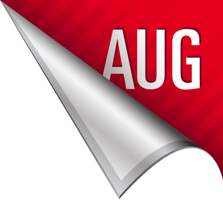 August calendar month icon on vector peeled corner tab suitable for use in print, on websites, or in advertising materials   Stock Photo - 14707118