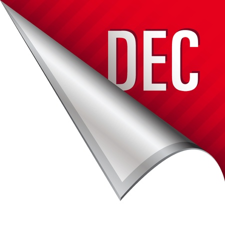 reveal: December calendar month icon on vector peeled corner tab suitable for use in print, on websites, or in advertising materials