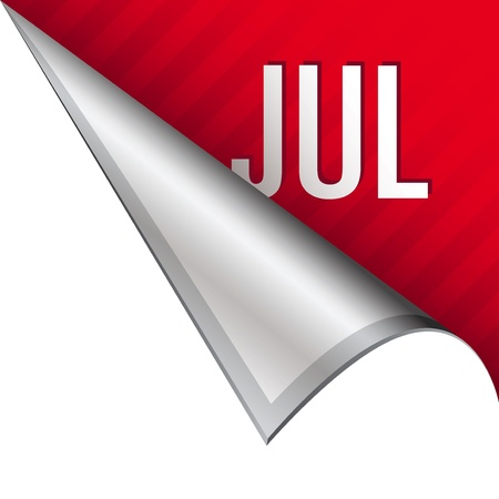 july calendar: July calendar month icon on vector peeled corner tab suitable for use in print, on websites, or in advertising materials
