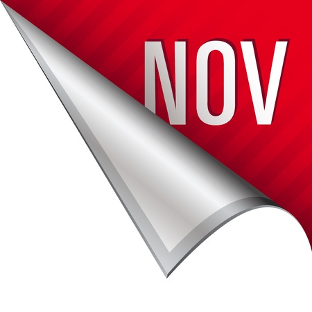 november calendar: November calendar month icon on vector peeled corner tab suitable for use in print, on websites, or in advertising materials