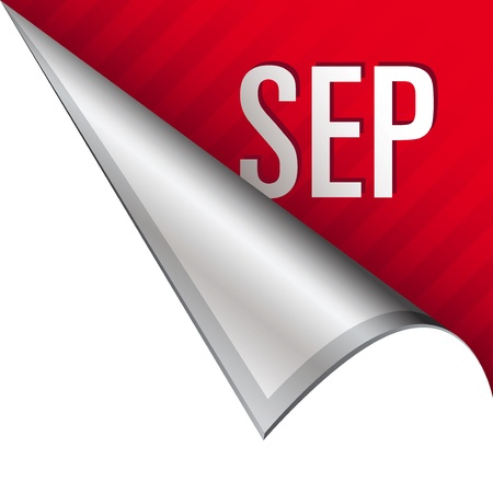 September calendar month icon on vector peeled corner tab suitable for use in print, on websites, or in advertising materials   Stock Photo - 14707185
