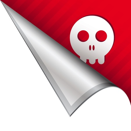 Skull icon on vector peeled corner tab suitable for use in print, on websites, or in advertising materials