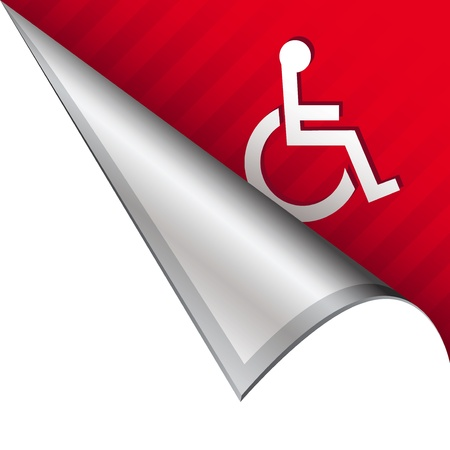 accessible: Wheelchair or accessibility icon on vector peeled corner tab suitable for use in print, on websites, or in advertising materials