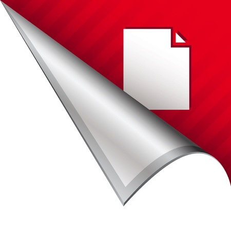 Paper document icon on vector peeled corner tab suitable for use in print, on websites, or in advertising materials   photo