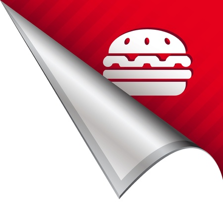 Hamburger icon on vector peeled corner tab suitable for use in print, on websites, or in advertising materials Stock Photo - 14707129