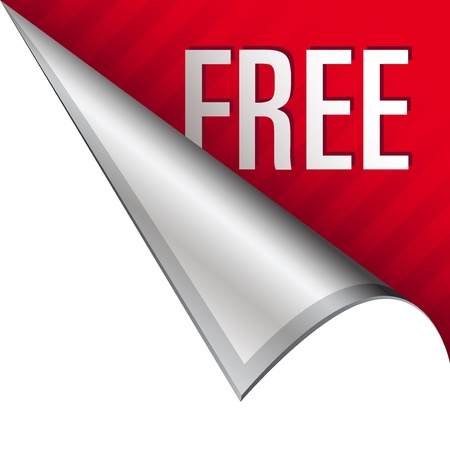 Free icon on vector peeled corner tab suitable for use in print, on websites, or in advertising materials