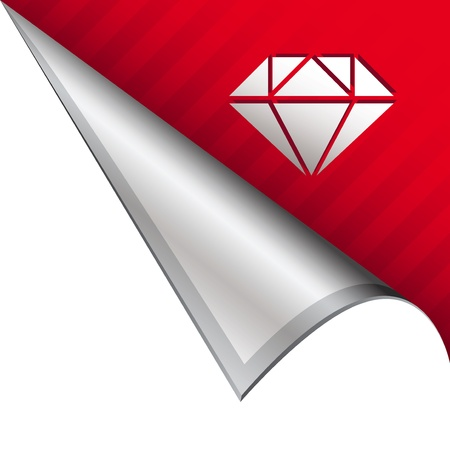 Diamond icon on vector peeled corner tab suitable for use in print, on websites, or in advertising materials   photo