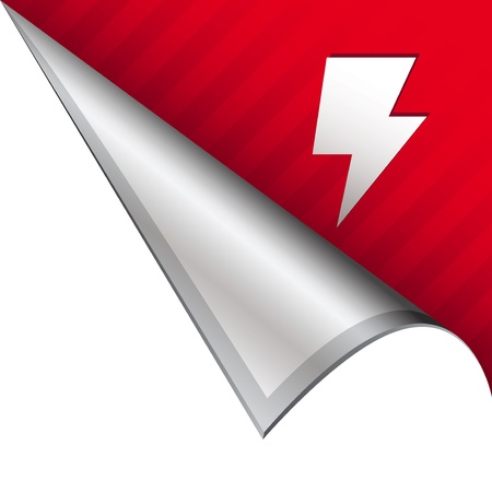 Lightning bolt or electricity icon on vector peeled corner tab suitable for use in print, on websites, or in advertising materials