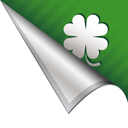 St  Patrick s Day four leaf clover luck icon on vector peeled corner tab suitable for use in print, on websites, or in advertising materials   Stock Photo - 14707141