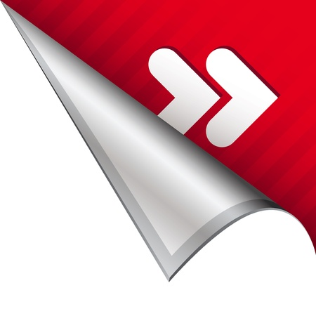 Forward or skip media player icon on vector peeled corner tab suitable for use in print, on websites, or in advertising materials